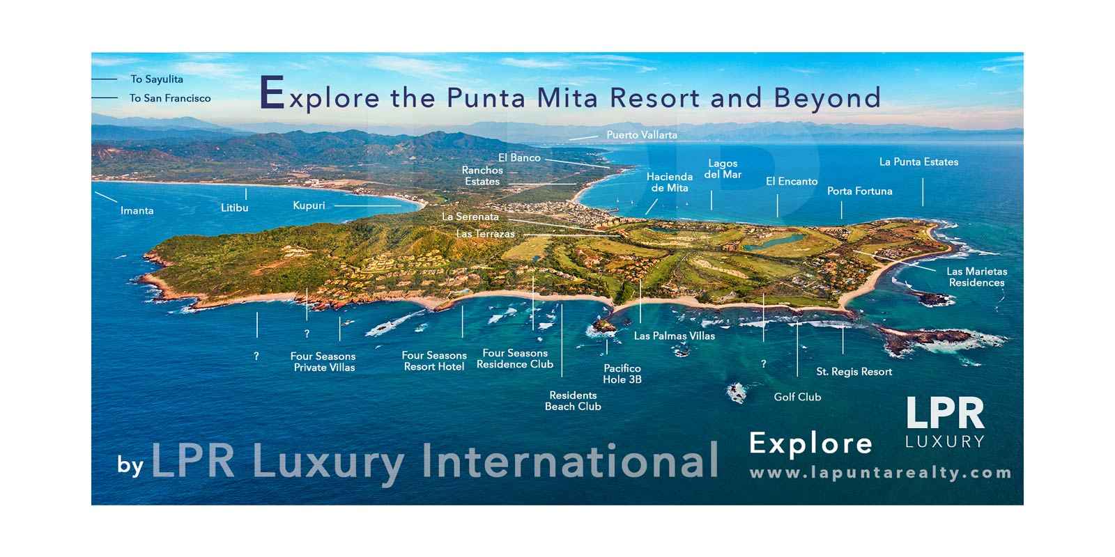 Map of Punta Mita - Aerial Photo Map of the Punta Mita Resort, Mexico
