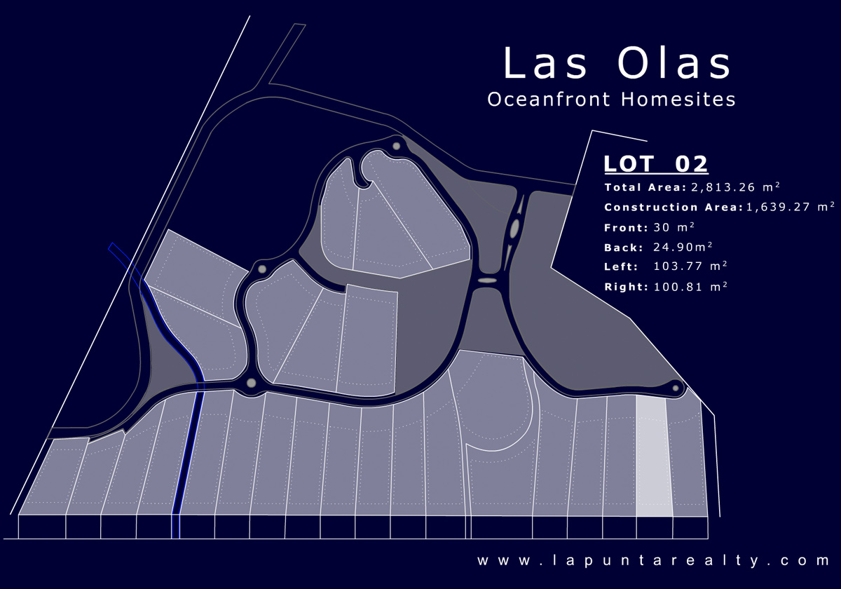 Map of Lots at Las Olas, San Francisco, Nayarit