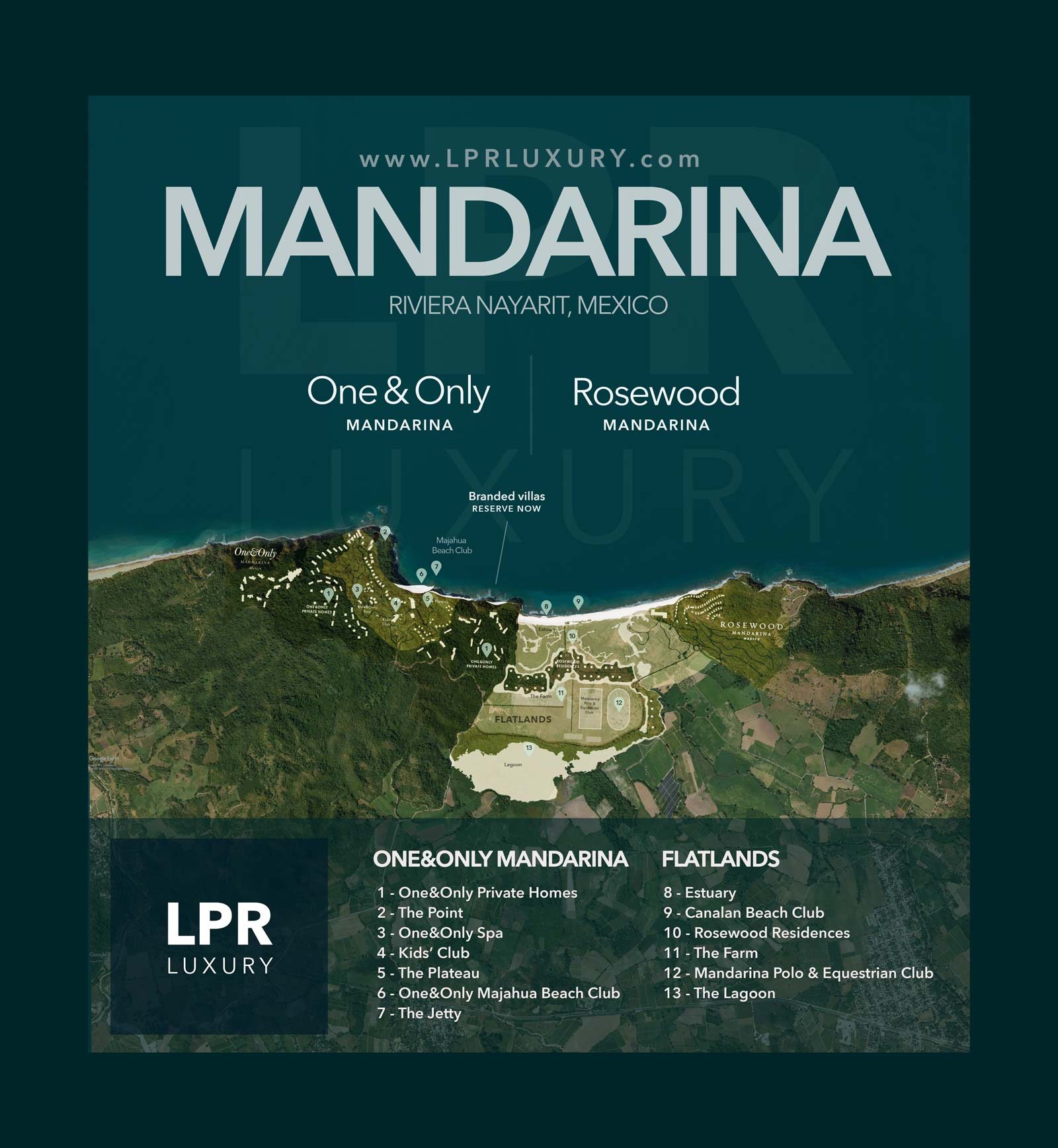 Master Plan Map of One&Only Private Homes - Mandarina, Riviera Nayarit - One & Only Resort real estate and vacation rentals