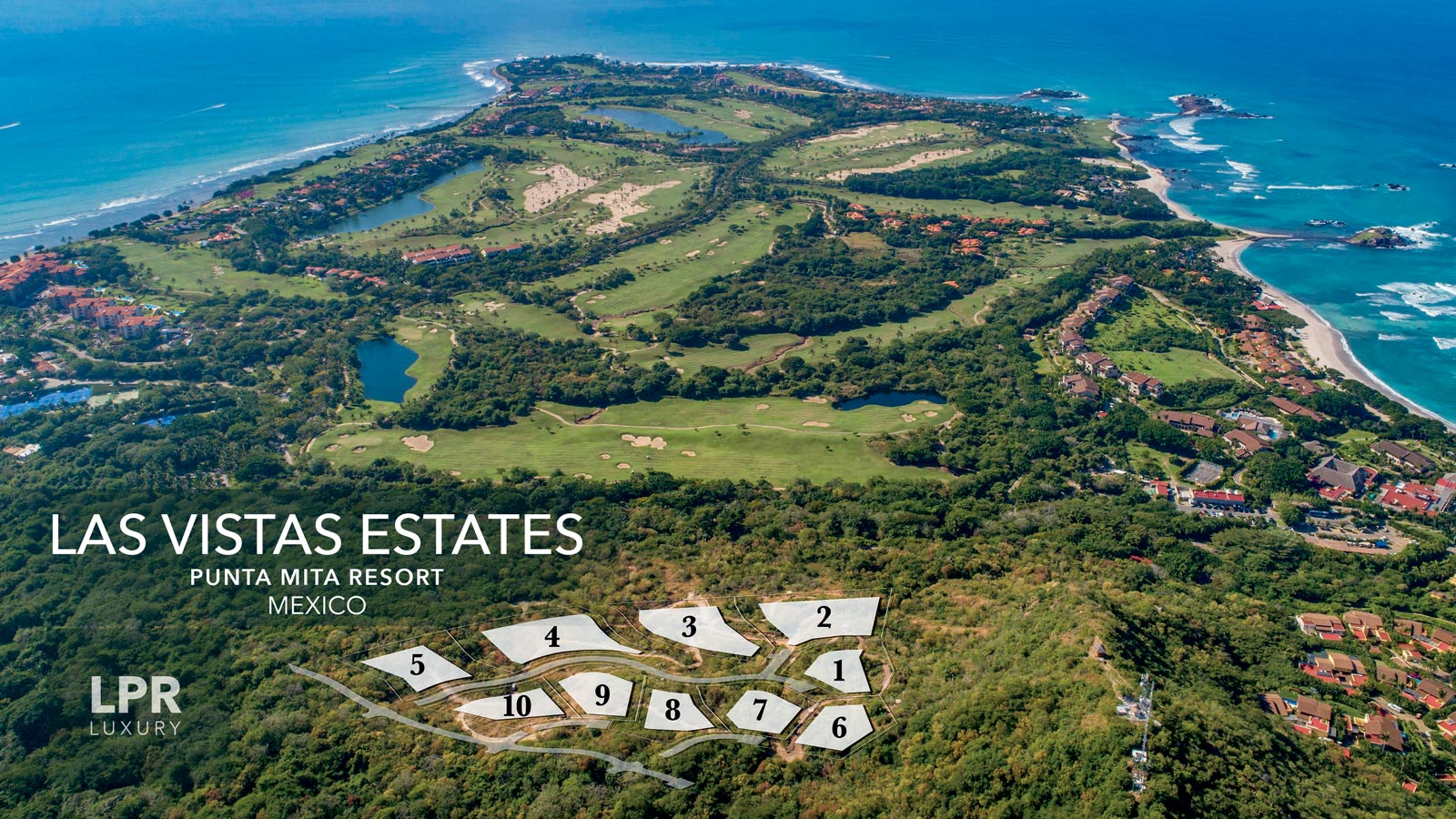 Las Vista Estates - Luxury real estate at the Punta Mita Resort. Hillside homesite building lots for sale overlooking the resort, golf fairways and Las Marietas Islands.