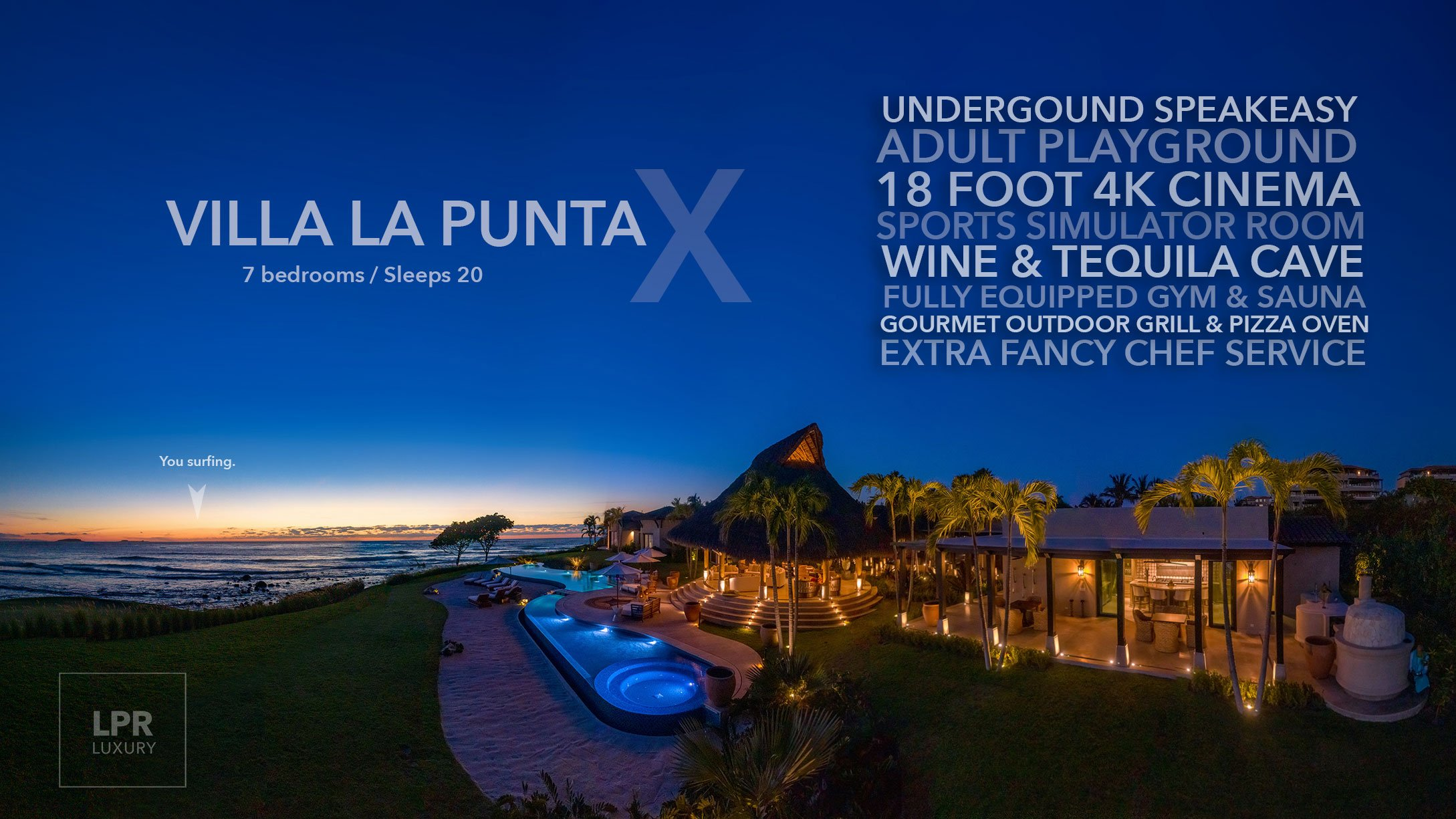 Villa La Punta Estates X - Ultra luxury Punta Mita beachfront vacation villa | Experience a secret underground speakeasy playground in Mexico.